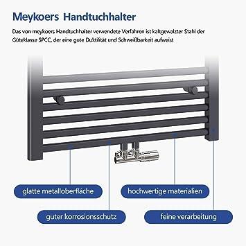 Badheizk/örper Handtuchtrockner Heizk/örper 1200x400mm 547 Watt Leistung Wei/ß Bad Mittelanschluss Handtuchw/ärmer Heizung