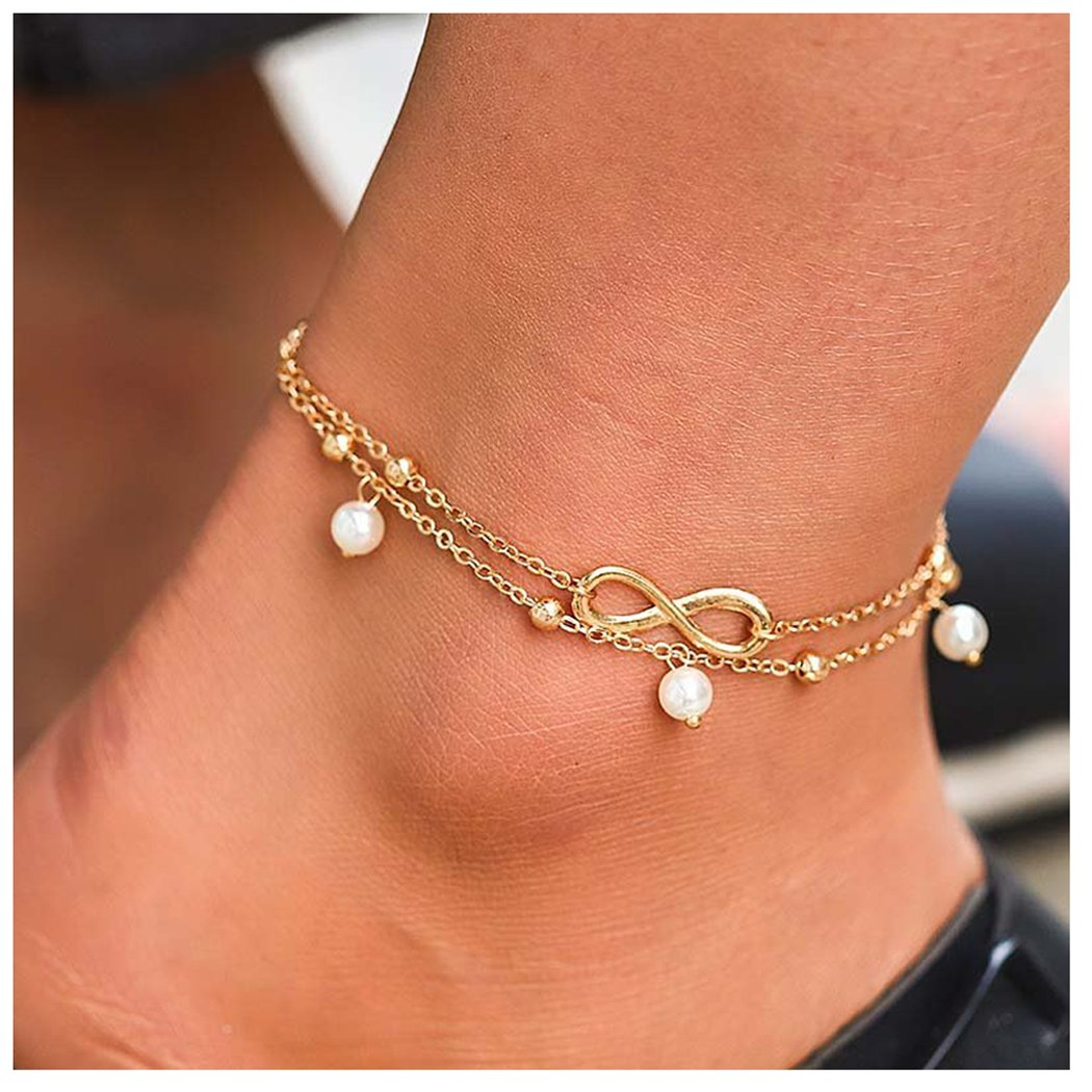 Gold Simsly Anklets Bracelet Beach with Beads Ankle Foot Chain for Women and Girls JL-0154