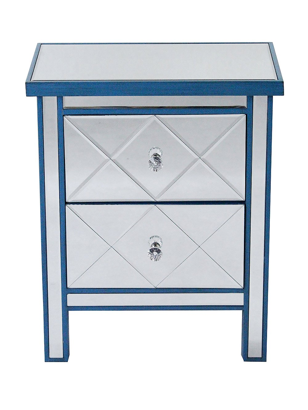 Heather Ann Creations Modern Beveled Mirrored Finished 2 Drawer Accent Chest Nightstand, 20'' x 13'' x 26'', Blue
