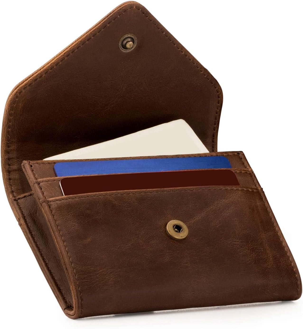 Otto Angelino - Monedero y Organizador de Tarjetas de crédito de Cuero - Bloqueo RFID - Unisex (Marron Oscuro)