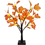 TURNMEON 24 inch Prelit Maple Tree with 24 Pumpkin Lights, Maple Leave Tree for Fall Decor Autumn Decoration Thanksgiving Dec