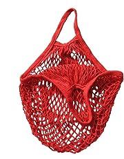 eMarto Reusable Organic Cotton String Mesh Shopping Tote Net Woven Bag(Red)