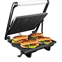 Aicok Panini Press Grill, Panini Maker, Sandwich Maker with Nonstick Plates, Cafe-Style Floating Lid, Removable Drip Tray, 1200W, Silver