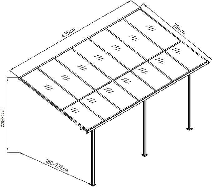 Gardiun KIS13011 - Pérgola de Pared Elliot - 11 m² 435x254x220/260 cm Aluminio y Policarbonato: Amazon.es: Jardín