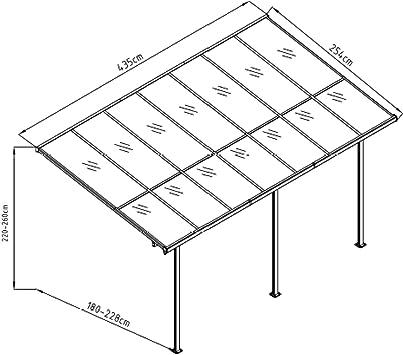 Gardiun KIS13011 - Pérgola de Pared Elliot - 11 m² 435x254x220/260 ...