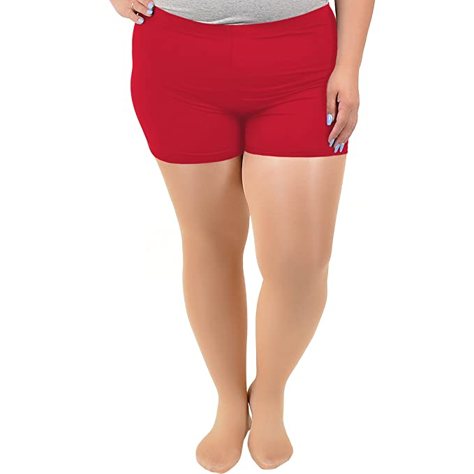 Stretch Is Comfort Womens Plus Size Nylon Spandex Booty Shorts Red X Large