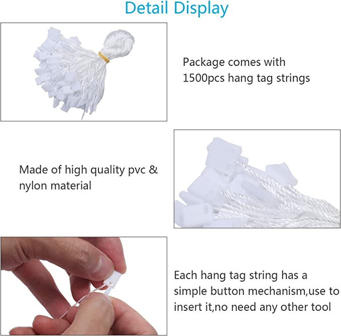 Hang Tag String,ZERHOK 1500pcs Disposable White Price Nylon Hang Tag String with Snap Lock Pin for Clothes Brand Tag Price