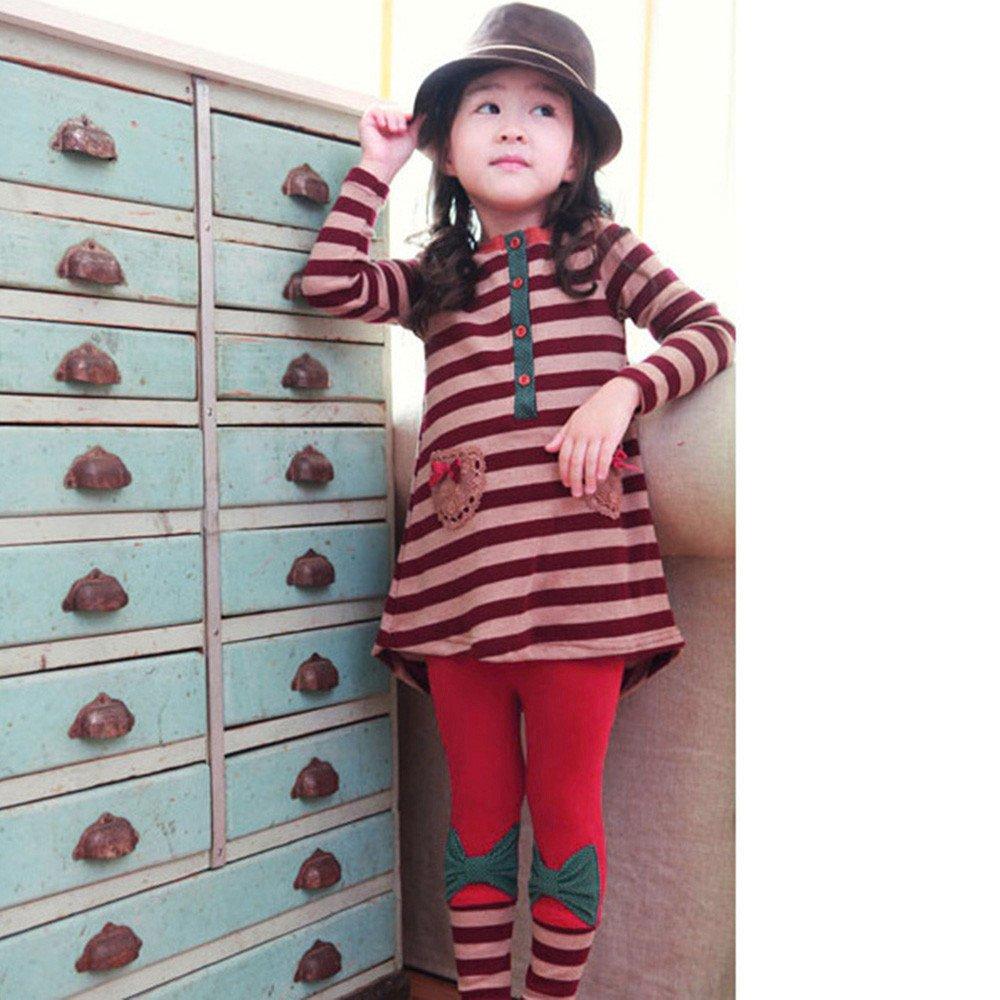 2pcs Toddler Little Girls Stripe Bowknot Cartoon Shirt Dress+Pants Outfits Franterd Baby Girls Clothes Set