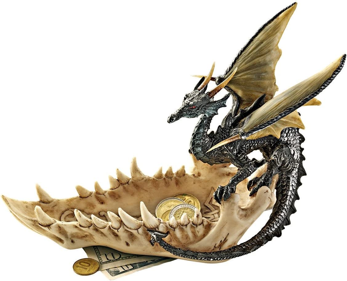 Design Toscano QS91305 Jaw of the Dragon Offering Dish Gothic Statue, 9 Inch, Polyresin, Full Color