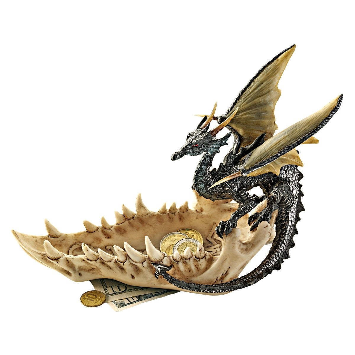 Design Toscano Jaw of the Dragon Offering Dish Gothic Statue, 9 Inch, Polyresin, Full Color