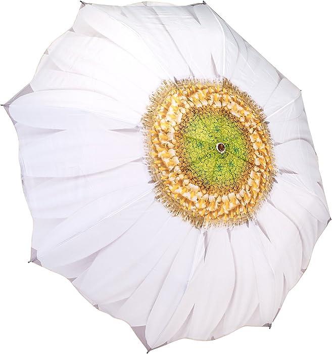 White Daisy Womens Compact Umbrella Auto Button Open Gift