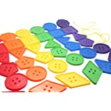 Jumbo Lacing Buttons Busy Bag - Perfect fine motor learning activity for toddlers and preschoolers. Sort by shape and color. Travel activity