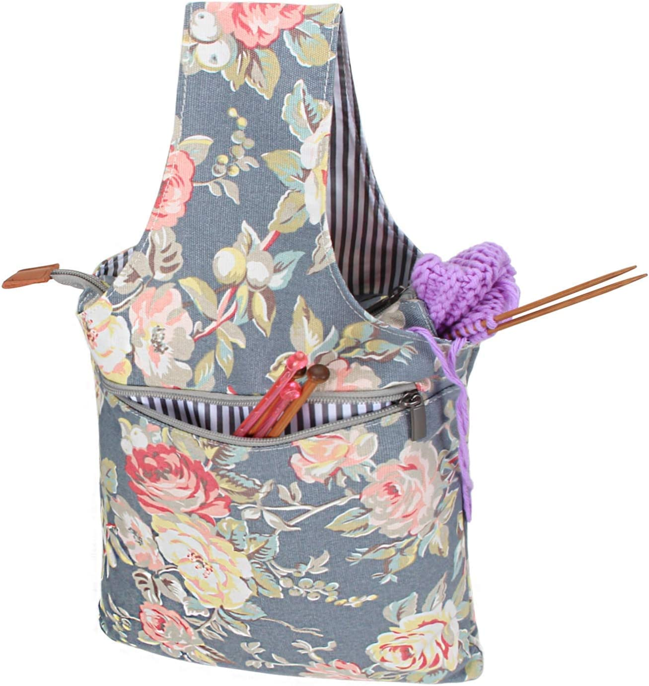 Portable Crocheting Knitting Storage Tote Bag with Feed Hole Sewing Supplies Q