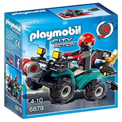 Playmobil 6879 City Action Robber's Quad with Loot with Pullback Motor: Toys & Games
