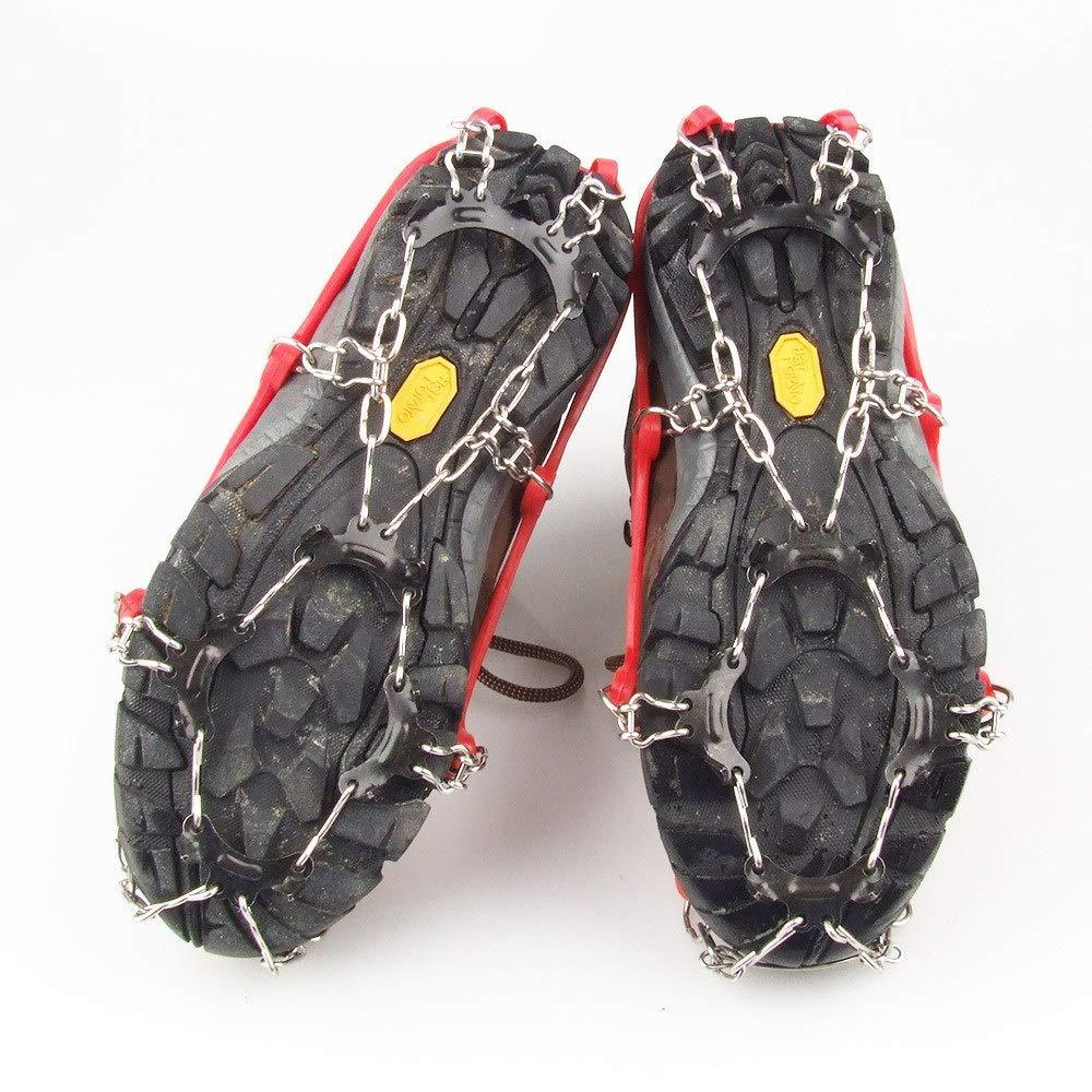 Colore : Rosso, Dimensione : Free Size YBWEN Tipo di Cinturino Ramponi I Bambini di trazione Tacchetti Anti Slip Scarpe Ramponi 11 Denti for linverno Walking Arrampicata Escursioni ramponi