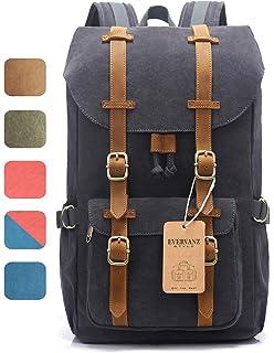 75884e6fab5ec EverVanz Canvas Leder Rucksack Reise Wandern Outdoorrucksack Daypacks für  15 Zoll Laptop großer Rucksack für Schule