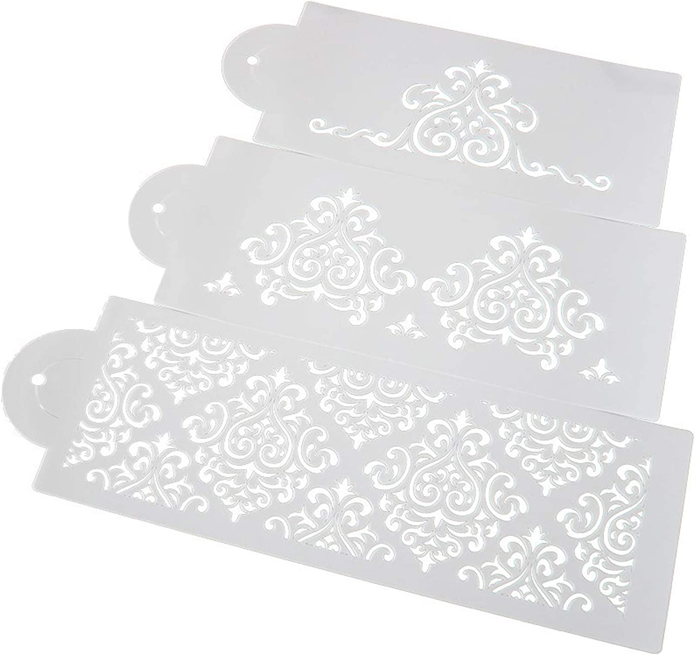 DUBENS Lot de 3 pochoirs de d/écoration de g/âteau en poudre pour g/âteau de mariage Motif fleurs