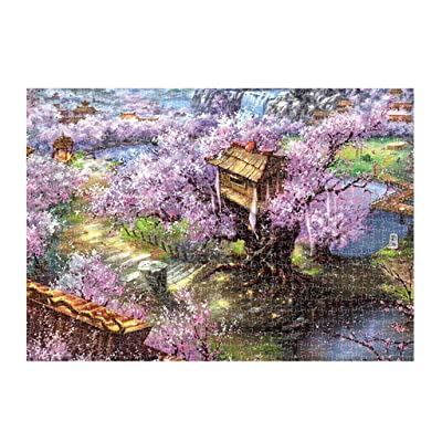 Clearance Jigsaw Puzzles for Adults Kids-1000 Piece Wooden Puzzles Toy Game for Kids Explore Creativity and Problem Solving-Wild Flowers Around Ancient City (Pink) : Baby