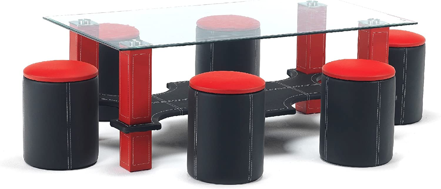 Luxor Contemporary Glass Coffee Table With 6 Matching Stools In A Black Red Faux Leather Finish Amazon Co Uk Kitchen Home