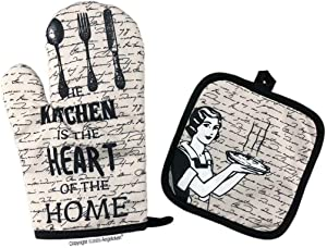 Angeloken Funny Oven Mitts The Kitchen is The Heart of The Home Extreme Heat Resistant Soft Cotton Lining Pot Holder Oven Gloves Set for Kitchen BBQ Grilling Baking Welding 11 Inch