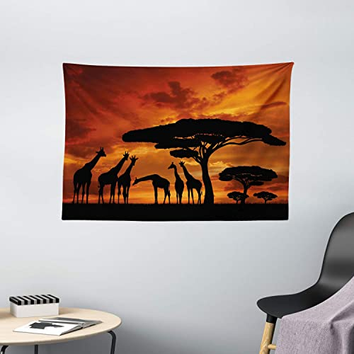Ambesonne Africa Tapestry, Safari Animal with Giraffe Crew with Majestic Tree at Sunrise in Kenya, Wide Wall Hanging for Bedroom Living Room Dorm, 60 X 40 , Orange Black