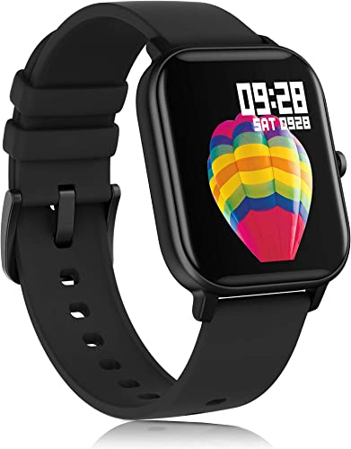 AMATAGE Smart Watch for Android Phones iPhone for Men Women, Fitness Tracker Watch with Heart Rate Oxyhemoglobin Saturation Monitor, Waterproof Activity Tracker with Sleep Monitor Black