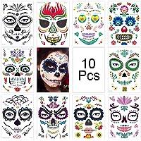 Waterdichte Tattoo Stickers,10 Stuks Halloween Gezicht Tijdelijke Tatoeages,Tijdelijke Gezicht Tattoo,Schedel Skelet…