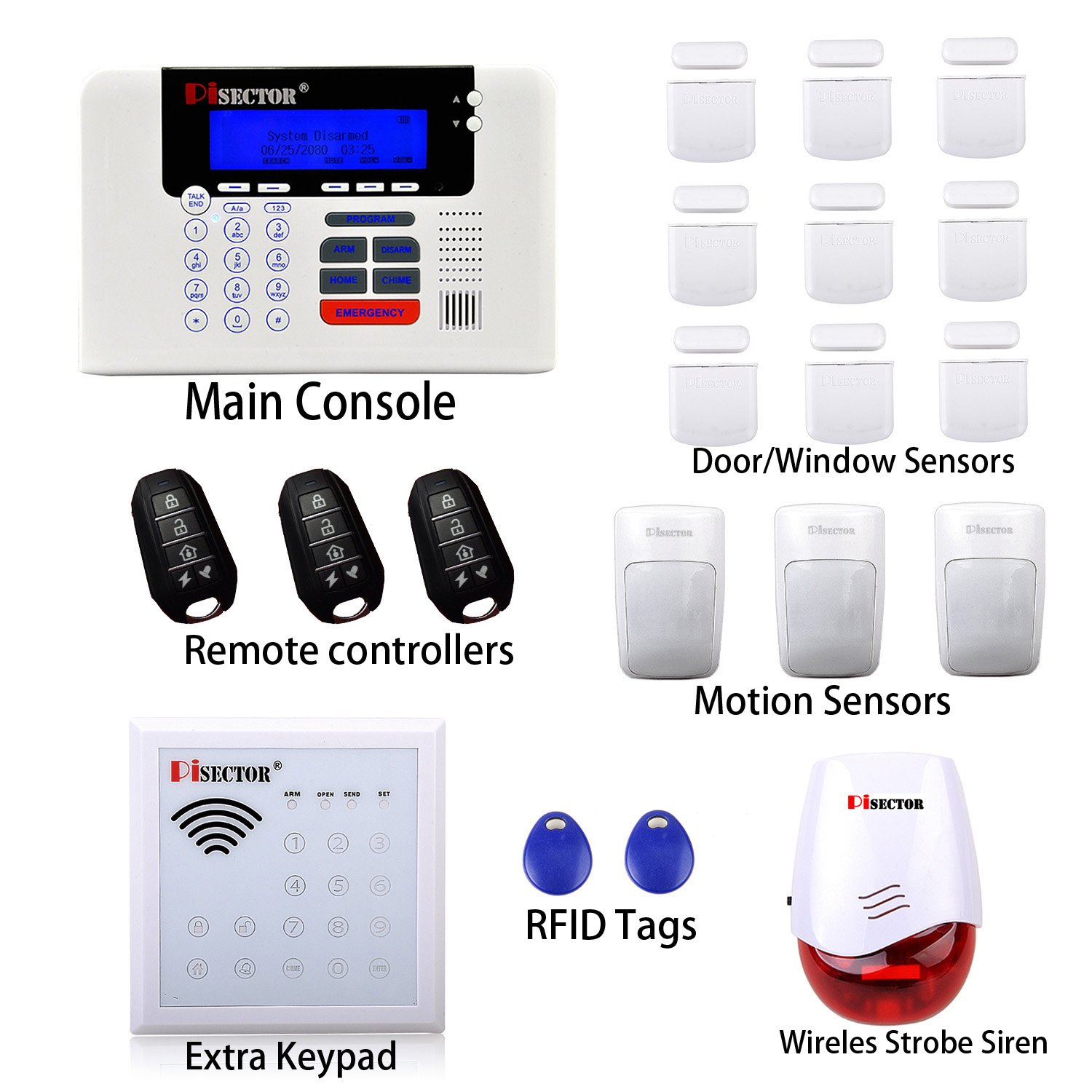 amazoncom pisector 3g4g cellular u0026 landline all in one wireless security alarm system diy kit with dual network for double protection