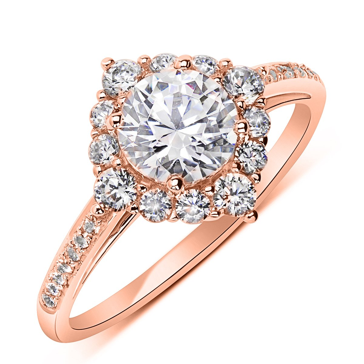 14K Rose Gold 1.2 cttw Round CZ Solitaire Wedding Engagement Halo Ring, 9