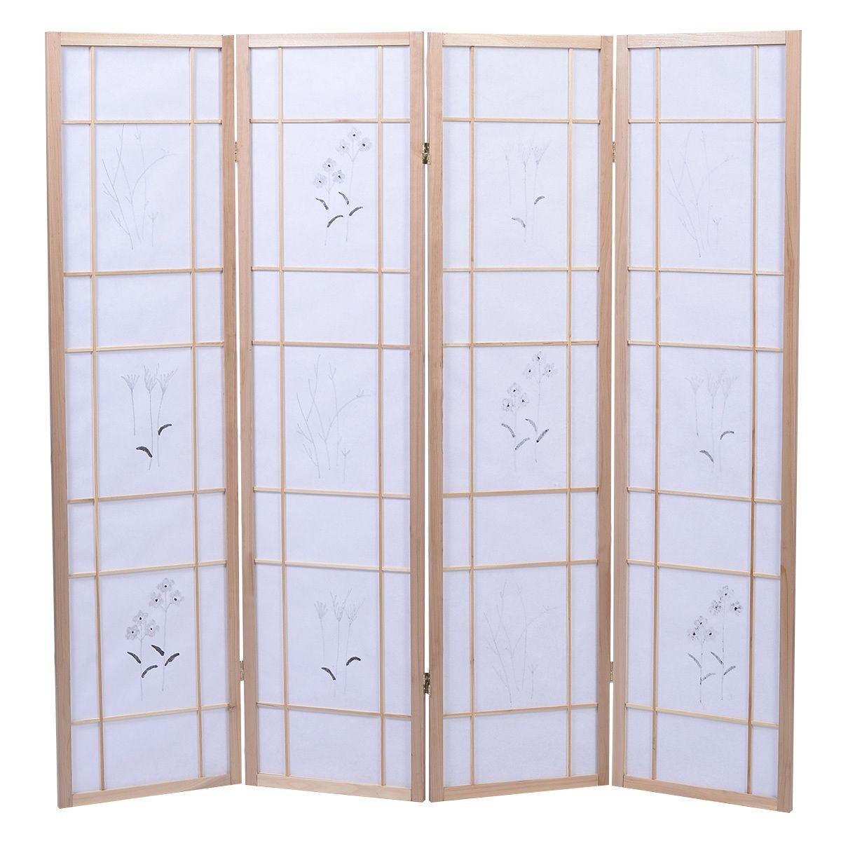 Alitop 4 Panel Flowered Room Divider Screen Style Shoji Solid Wood Natrual