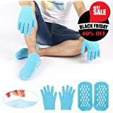 Gel Moisturizing Spa Gloves and Socks Soft Cotton with Thermoplastic Gel Repair and Heal Eczema Cracked Dry Skin, Gel Lining Infused with Essential Oils and Vitamins, Large Size for Women and Men