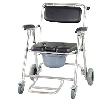 Amazon.com: Finlon Mobile Commode Chair Wheelchair Toilet with 4 ...