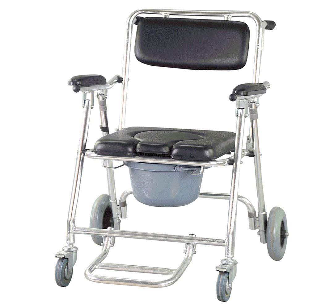 Finlon Mobile Commode Chair Wheelchair Toilet with 4 brakes, Wheels, Padded Toilet Seat, Drop Arm Transport Chair,& Footrests Wheelchair Toilet