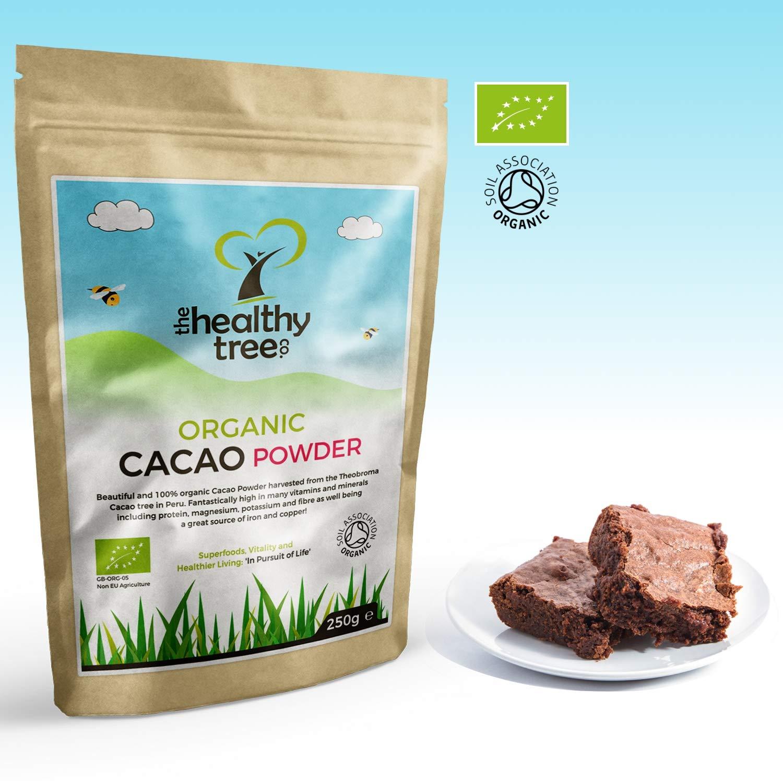TheHealthyTree Company Cacao Crudo Orgánico en Polvo - Proteínas, Magnesio, Fibra y Potasio - Excelente en yogurt, batidos y para hornear - Cacao en polvo ...