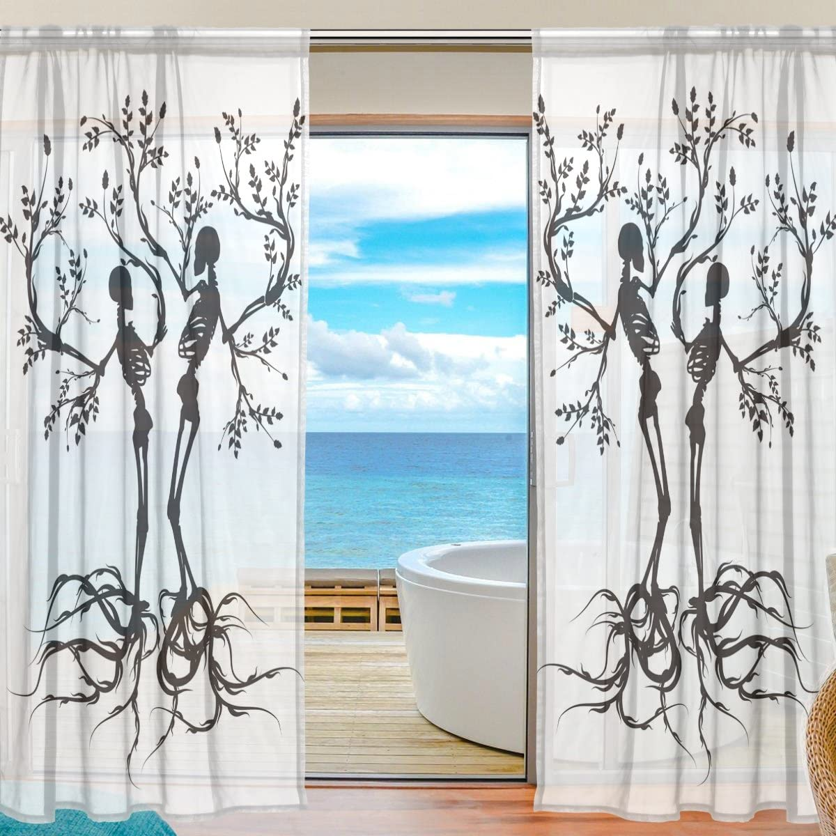 SEULIFE Window Sheer Curtain Skull Tree of Life Voile Curtain Drapes for Door Kitchen Living Room Bedroom 55×84 inches 2 Panels