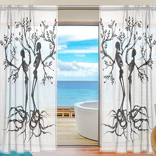 SEULIFE Window Sheer Curtain Skull Tree of Life Voile Curtain Drape