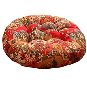 Chinese Style Round Chair Cushion Floor Cushion Seat Pad Thick Pillow, A