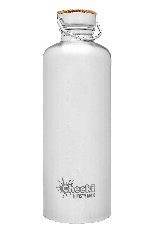 2018セール Cheekiステンレススチールウォーターボトル、Thirsty シルバー Max Max W/Insulated蓋(1.6 L/54 Oz) ;再利用可能なメタルスポーツCanteen Oz)、BPAフリー、安全ドリンクボトル、クール水のフラスコランニング、ジム、サイクリング、学校 シルバー B07D9493F2, ハセキュー:7ad854bc --- vezam.lt