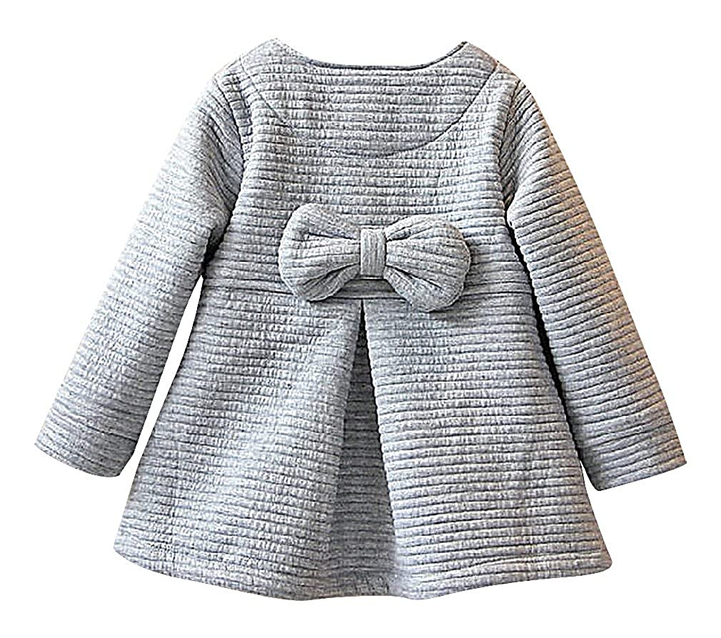 Sweety Girls Stripe Texture Penguin /& Bow Tie 3 Button Pleated A Line Coat