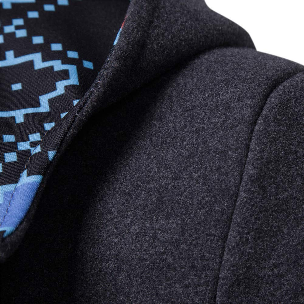 Pervobs Men Coat Horns Winter Thick Buckle Hooded Button Outwear Overcoat Jacket Coats