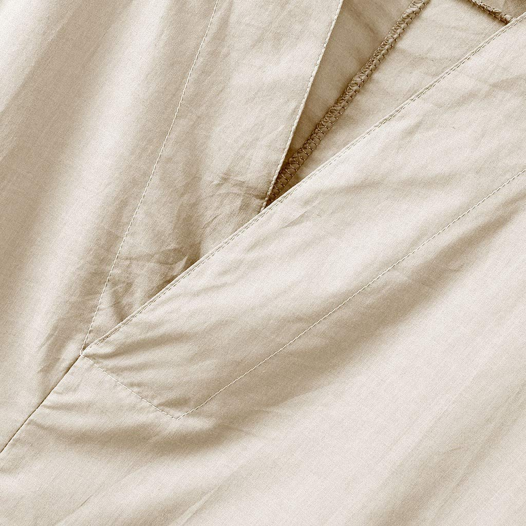 Men Linen Shirt Patchwork Seven Minute Sleeve Solid Loose V Neck Comfortable Classic T Shirt (M, Beige) by Pafei Men's shirts (Image #7)