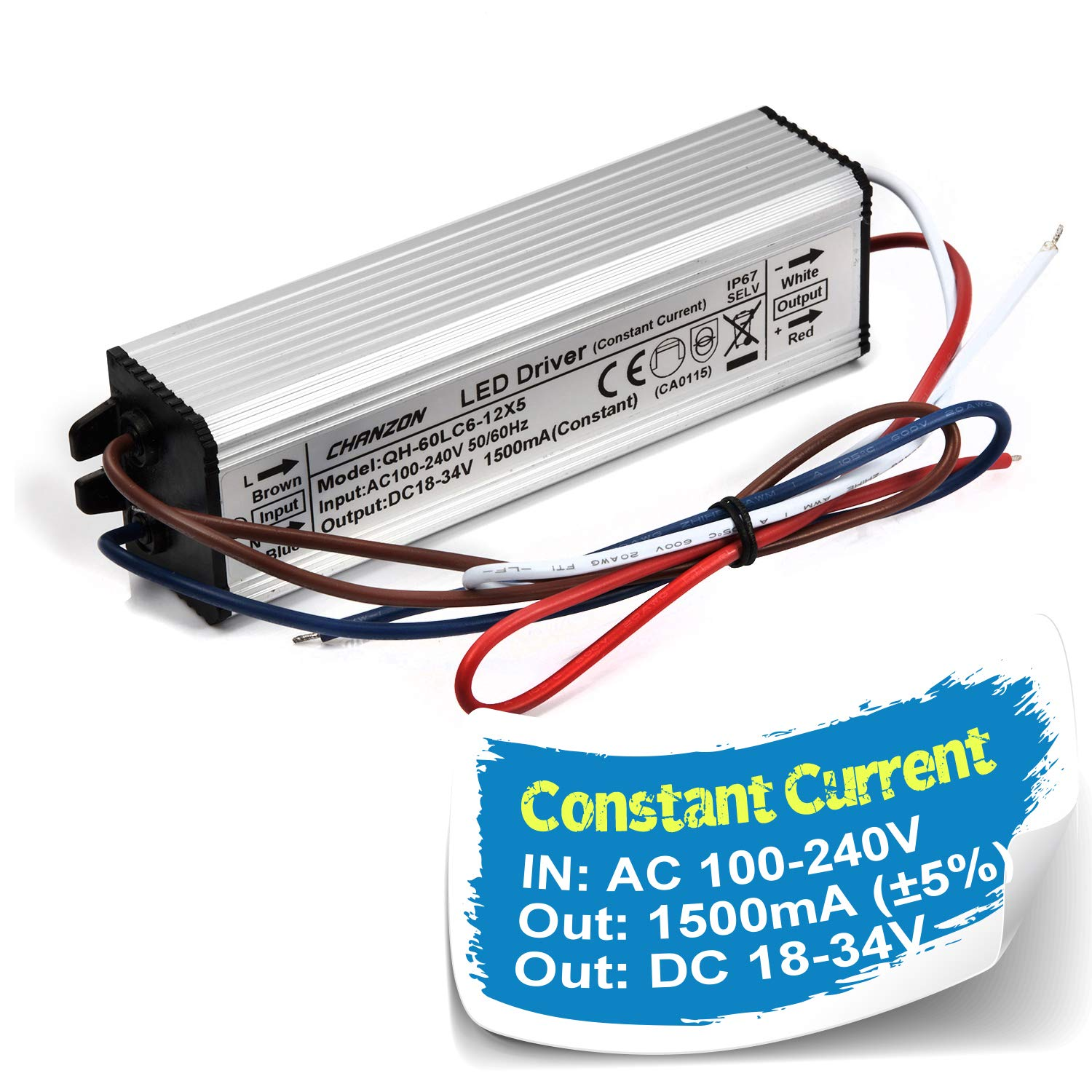 Chanzon Led Driver 1500ma Constant Current Output 18v 39v In85 Powering From Single Aa Cell 277v Ac Dc 6 12 X5 30w 40w 50w 60w Ip67 Waterproof High Power Supply 1500 Ma Lighting