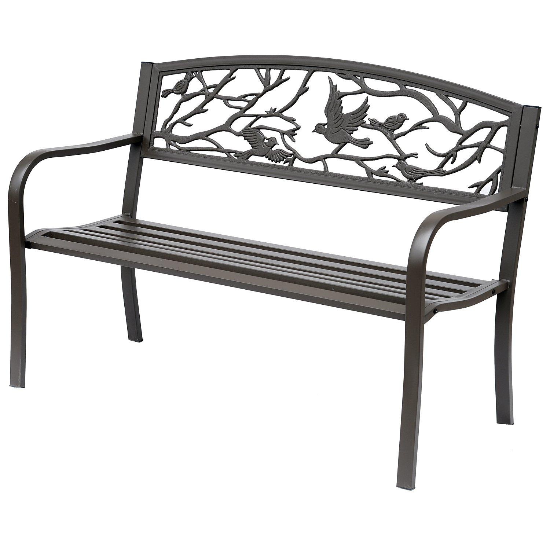 Outsunny 50'' Cast Iron Vintage Bird Pattern Garden Patio Bench