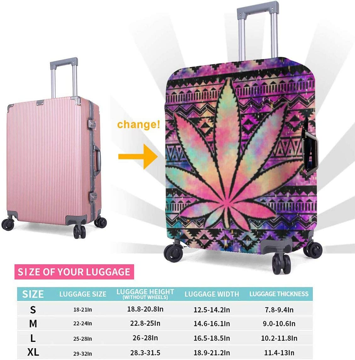 Aztec Tie Dye Weed Travel Luggage Cover Suitcase Protector Washable Zipper Baggage Cover