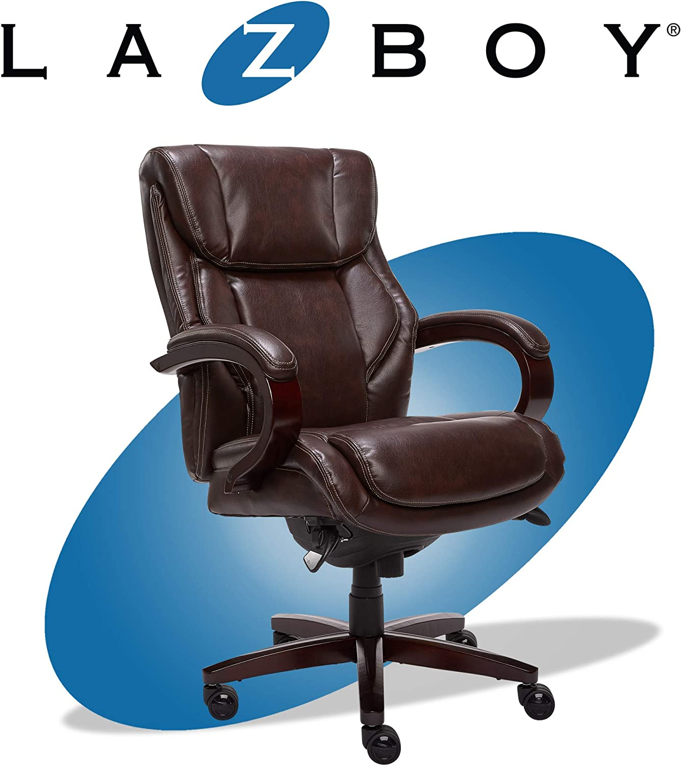 La-Z-Boy Bellamy Executive Office Chair with Memory Foam Cushions, Solid  Wood Arms and Base, Waterfall Seat Edge, Bonded Leather Brown