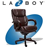 La-Z-Boy Bellamy Executive Office Chair with Memory Foam Cushions, Solid Wood Arms and Base, Waterfall Seat Edge, Bonded…