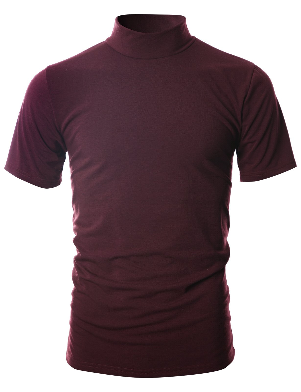 Ohoo Mens Slim Fit Soft Cotton Short Sleeve Pullover Lightweight Turtleneck Warm Inside /DCT101-BURGUNDY-2XL by Ohoo (Image #2)