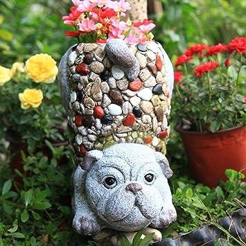Figura Decorativa para jardín Creativo Puppy Flower Pot Estatua De Jardín De óxido De Magnesio Para Yarda Paisaje Césped Decoración Manualidades Regalo - 28.5 * 19.5 * 27.5cm A: Amazon.es: Bricolaje y herramientas