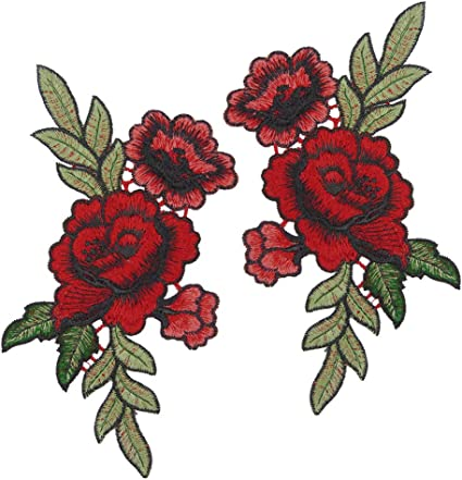 Rose Embroidered Iron Sew-on Cloth Badge Patch Appliqué Home