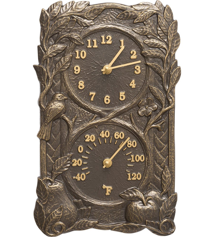 SKB family Fruit and Bird Outdoor Thermometer and Clock, 8'' x 13.75'' x 2'' x 6 lbs, French Bronze